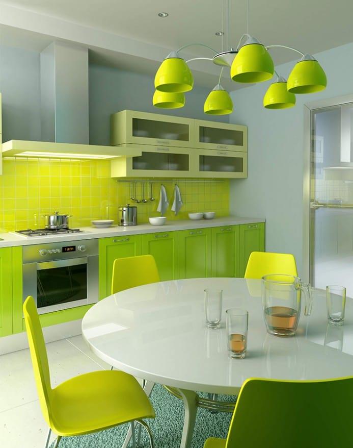 Küchegestaltung in weiß und grün