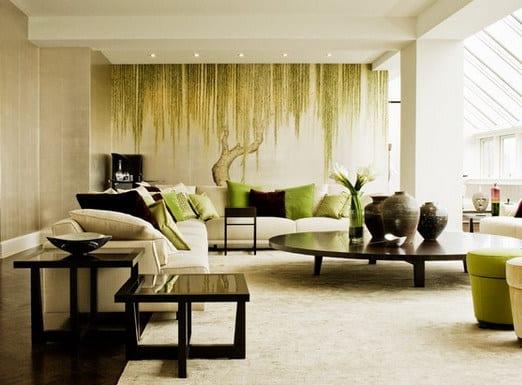 moderne Wohnzimmereinrichtung mit Baum-Wandgestaltung