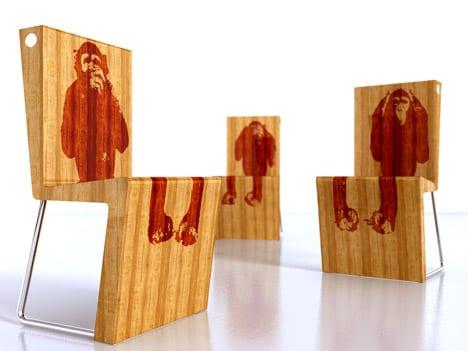 Designer Bambusstühle mit Affe-Druckmuster in rot