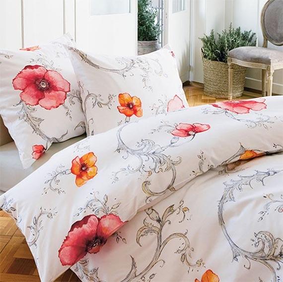 weiße bettwäsche mit blumen - moderne schlafzimmer gestaltung