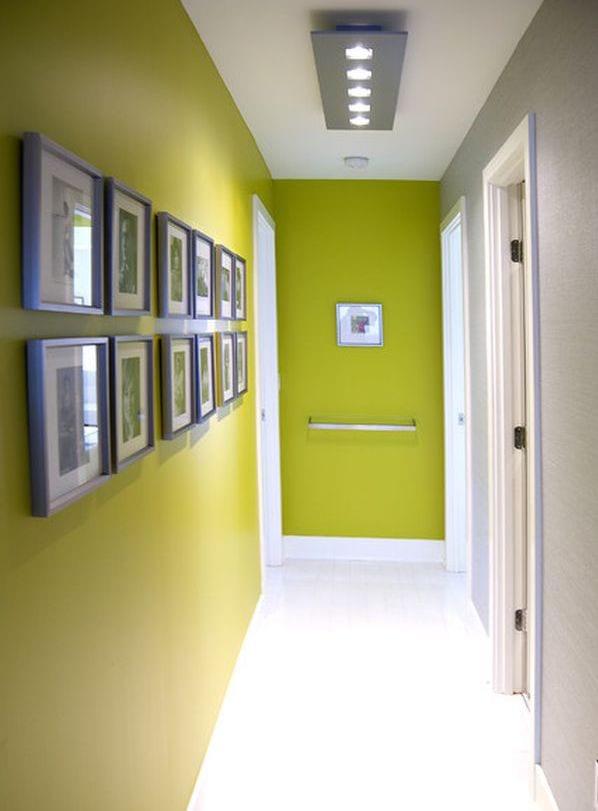 Flur Gestaltung in Weiß und Grün- Flurdeko idee