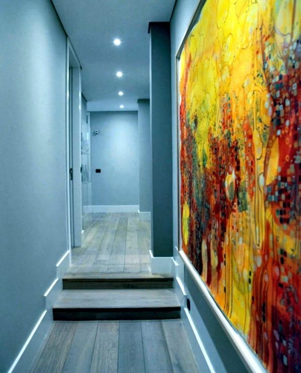 kreative farbgestaltung- wand streichen idee-blaue wand
