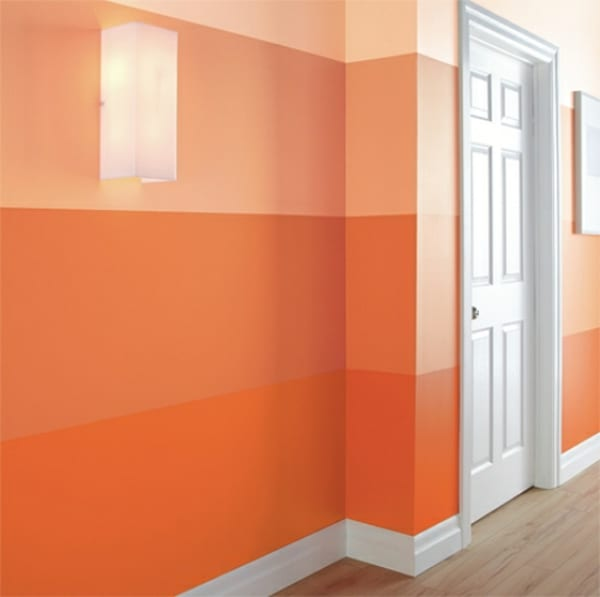 wand streichen idee in orange- orange wand