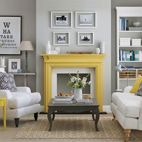 grau wohnzimmer:Yellow and Gray Living Room