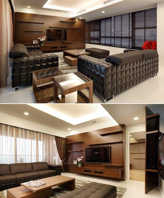 moderne Wohnzimmer einrichtung - TV Wand mit Holzverkleidung und Regalen-minimalistisches wohnzimmer mit schwarzen Ledersofas und Holzcouchtischen