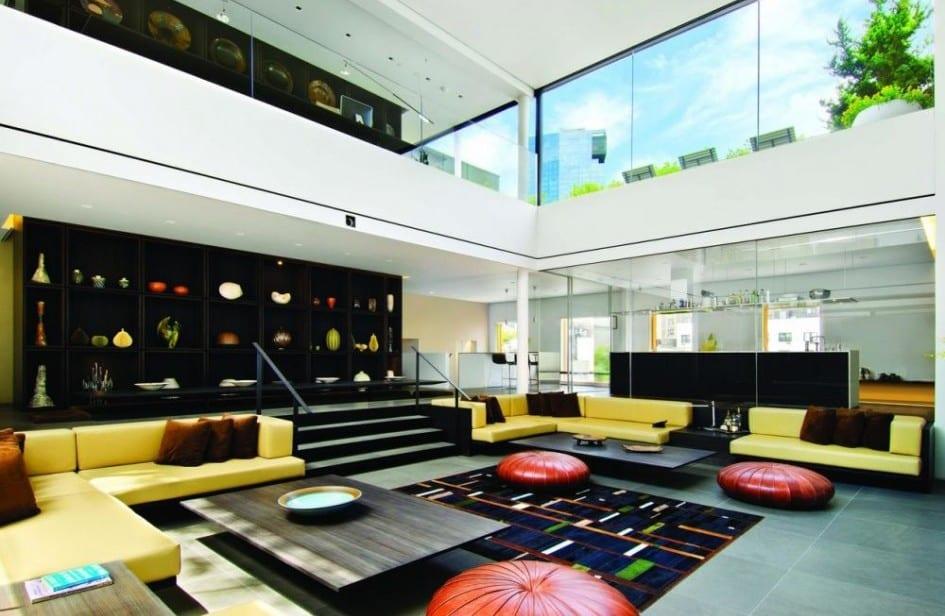 Wohnraum Gestaltungsidee-wohnzimmer  farbgestaltung-gelbe sofas