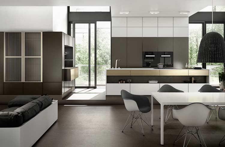 moderne einbau küche in weiß und braum - offene küche mit ess- und wohnbereich