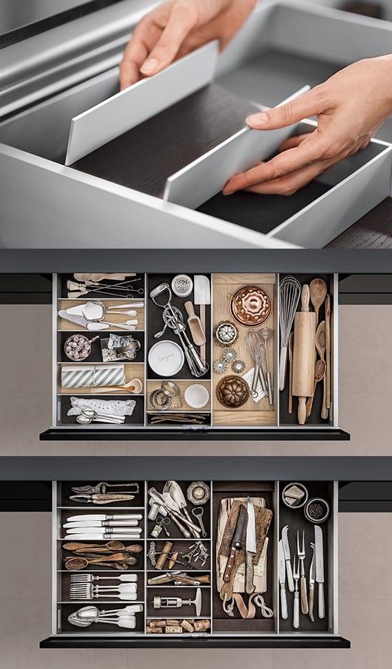 küche aktuell - moderne Aufbewahrung für die Küchenschubladen