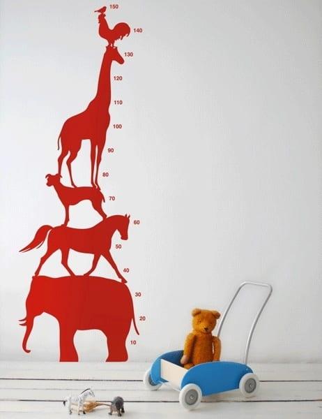 kreative kinderzimmer einrichtung - wandmeter für kinder-tiermotiv wanddeko