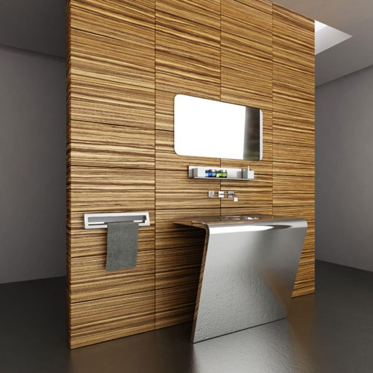 kleines badezimmer einrichten mit Wand aus Bambus und Metall-Waschtisch