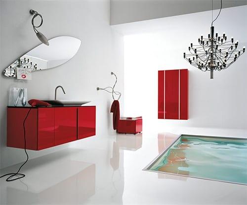 das moderne Badezimmer mit roten Badezimmermöbeln- Badezimmer Spiegel- badezimmer leuchten