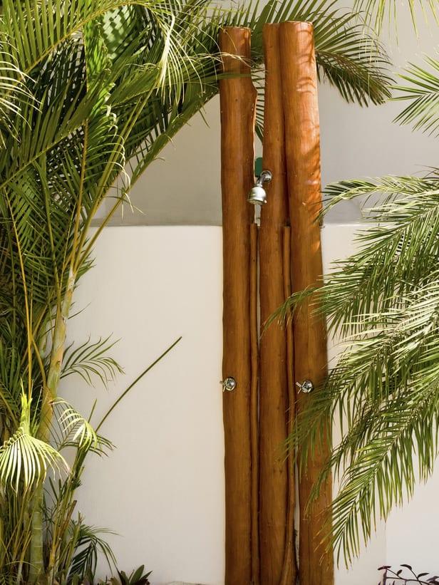 bambus dusche au enbereich freshouse. Black Bedroom Furniture Sets. Home Design Ideas