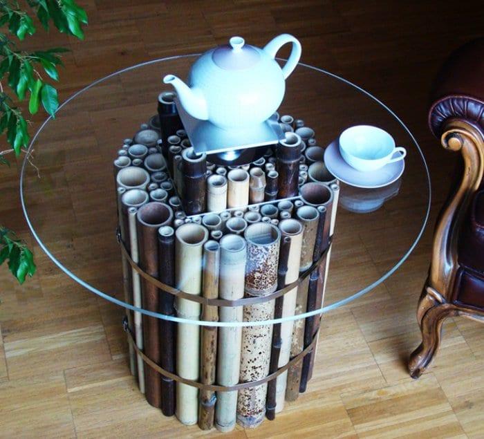 flow leuchte spirale form bambusstangen