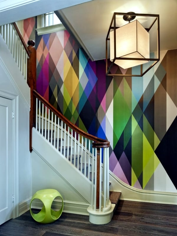 kreative farbgestaltung wohnung- wand streichen idee- moderne deckenleuchte