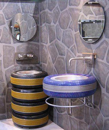 einrichten badezimmer idee mit autoreifen