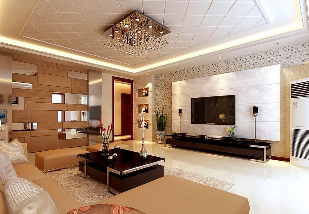 Farbgestaltung Wohnzimmer- moderne wandgestaltung- schwarzer couchtisch- ecksofa beige