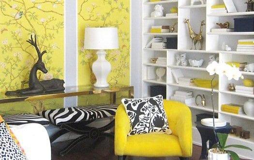 Farbgestaltung-gelbe Wand - Freshouse Wohnzimmer Gelb Schwarz