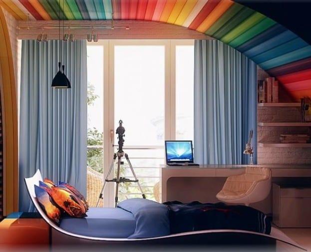 farbgestaltung kinderzimmer- gardinen blau- bettwäsche blau
