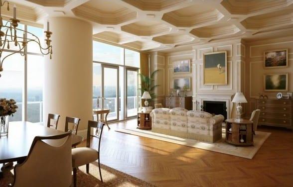 luxus wohnzimmer mit parkettboden und holzmöbeln