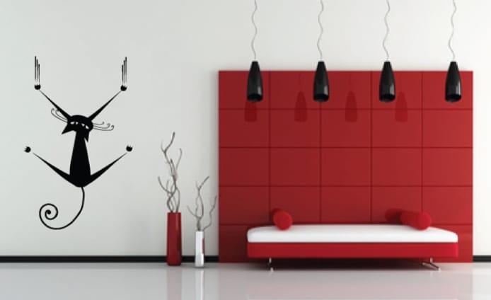 minimalistische wohnzimmer einrichtung-wandgestaltung-schwarze pendelleuchten