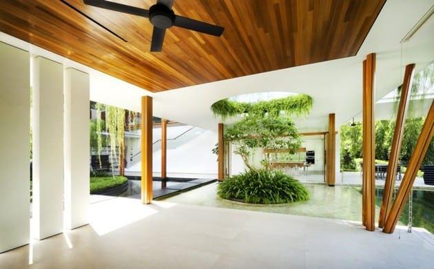 interior design mit natursteinboden und holz deckenverkleidung
