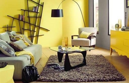 Gelbe Wand Schlafzimmer: Wand-streichen-ideen-schlafzimmer ... Gelbe Dekowand Blume Fr Wohnzimmer