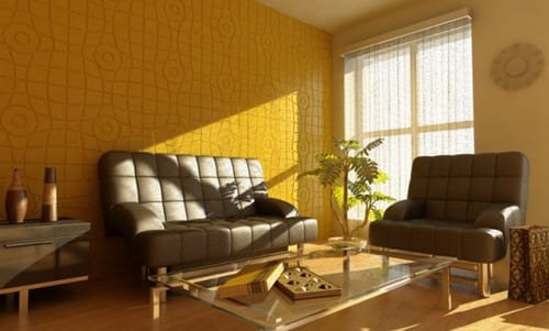 fresh living room design - leather sofa gray