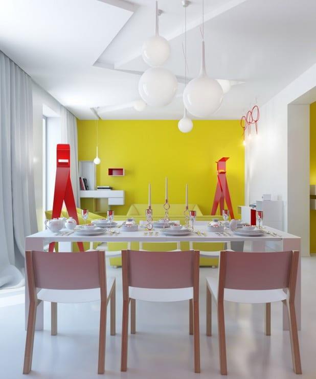 Farbgestaltung Esszimmer. Modernes Esszimmer Mit Weißem Esstisch Und Rosa  Stuhlen  Weiße Kugelpendelleuchten