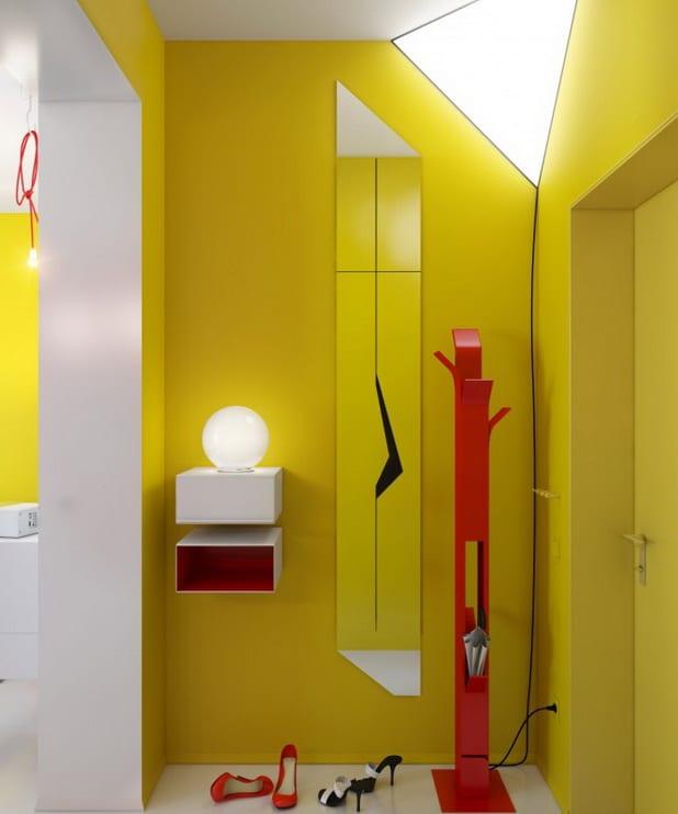 kreative lichtgestaltung - Wandspiegel- Wandregal weiß-rot