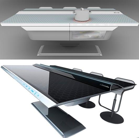 moderne Küche einrichten-schwarzer und weißer esstisch mit Barhockern- moderne Kochinsel