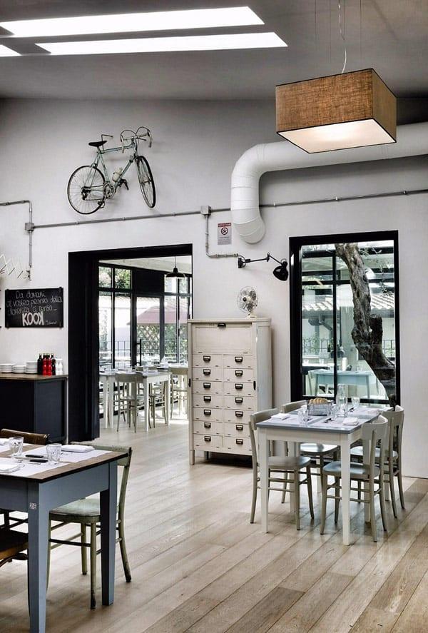 vintage innenausstatung mit weißen Holzesstischen und Stühlen- deckenbeleuchtung-schwarze Fensterrahmen-boden mit hellen holzbrettern