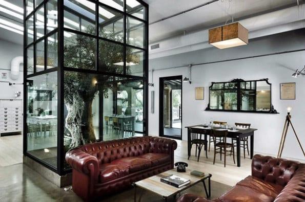 interior design innenraum atrium mit baum freshouse. Black Bedroom Furniture Sets. Home Design Ideas
