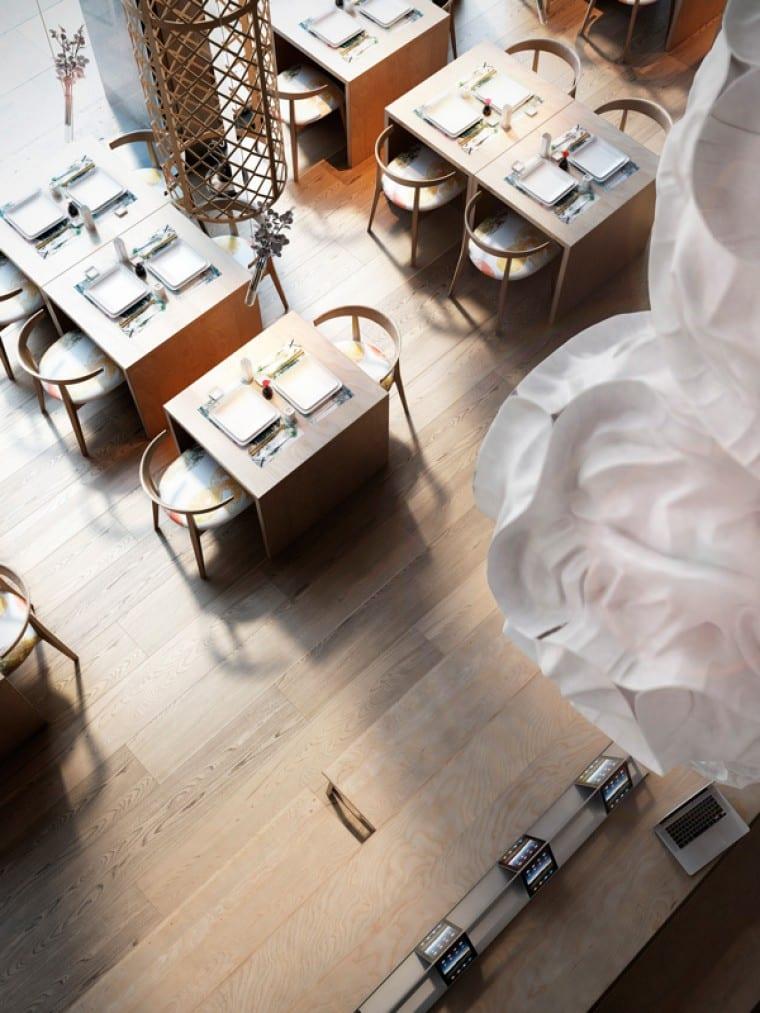 inneneinrichtung ideen mit Holzbodenbelag und Holzmöbeln für Restaurant Interior Design