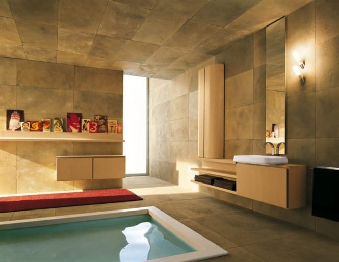 Naturstein im Badezimmer - Wandgestaltung Badezimmer- Roter teppich im Bad- Badezimmer möbel