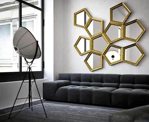 wohnzimmer farbgestaltung-sofa grau-teppich grau- weiße wände mit schwarzen Fensterrahmen