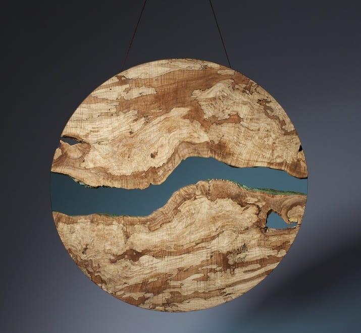 runde Holzplatte mit eingebauter Glasplatte