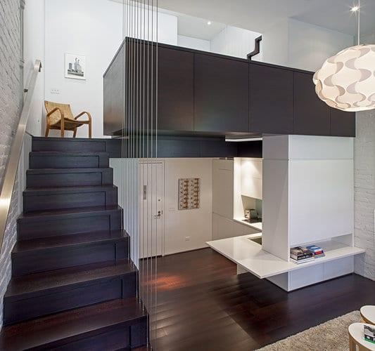 kleine Wohnung mit offener küche- Loft design mit weißem Ziegelmauerwerk-mezzanin gestaltungsidee