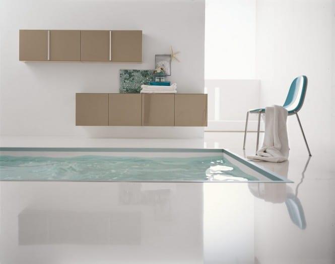 moderne Einrichtung Badezimmer mit Badezimmer Schränken in beige