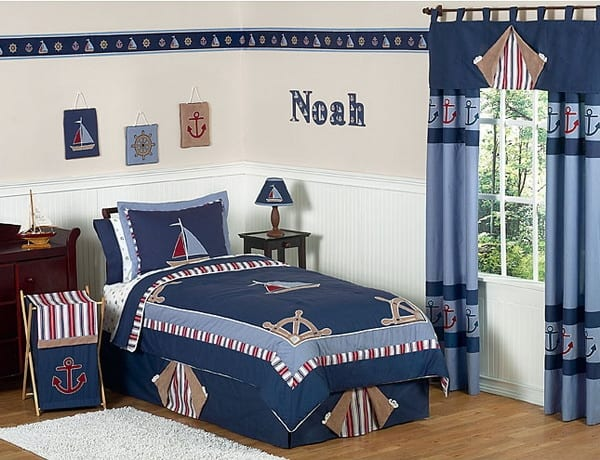 kinder bettwäsche in blau mit bootmuster- blaue gardinen fürs kinderzimmer