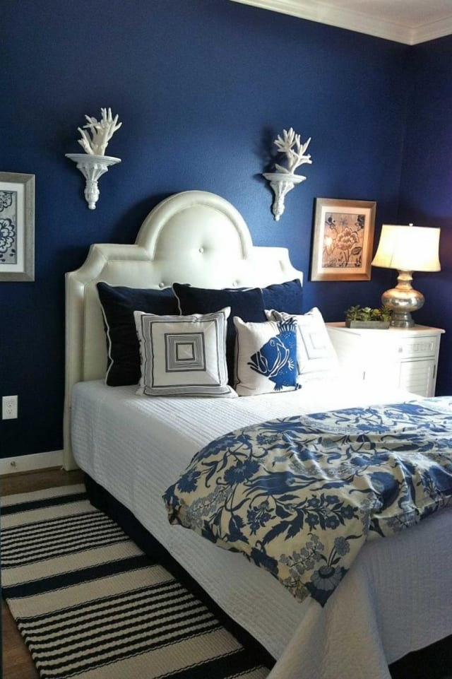 Wohnzimmer Blau Weiß