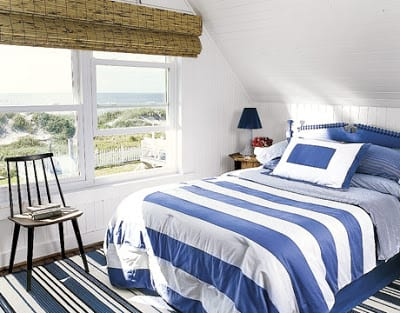 maritimer teppich- rattanfensterrolladen-bettwäsche mit sctreifen
