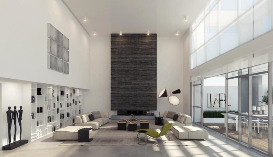 moderne wohnungsgestaltung-offener Raumgestaltung-eingebaute Wandregale-Wonhzimmer gestaltungsidee