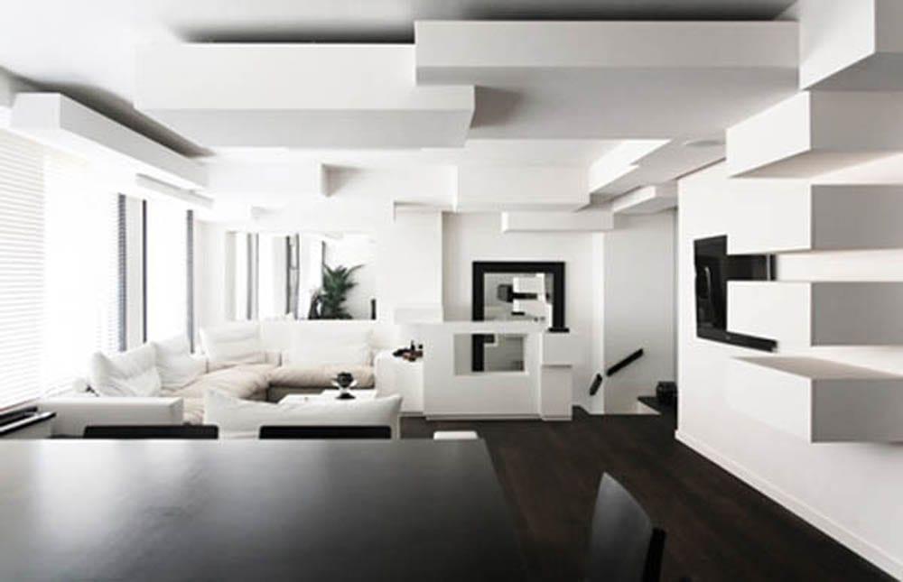 wohnzimmer minimalistisch einrichten- weißes Ecksofa - Wandgestaltung weiß