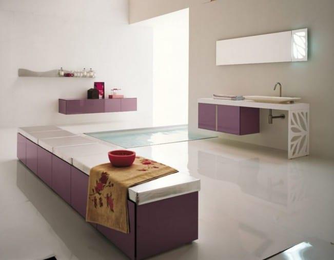 moderne badezimmermöbel in lila- badezimmer bank- luxus badezimmer