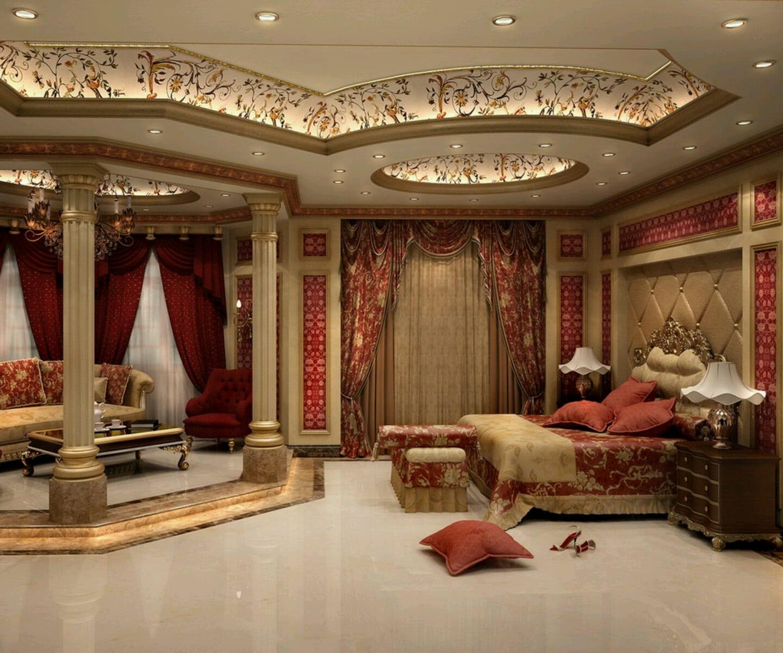 luxus schlafzimmer einrichten in rot und beige