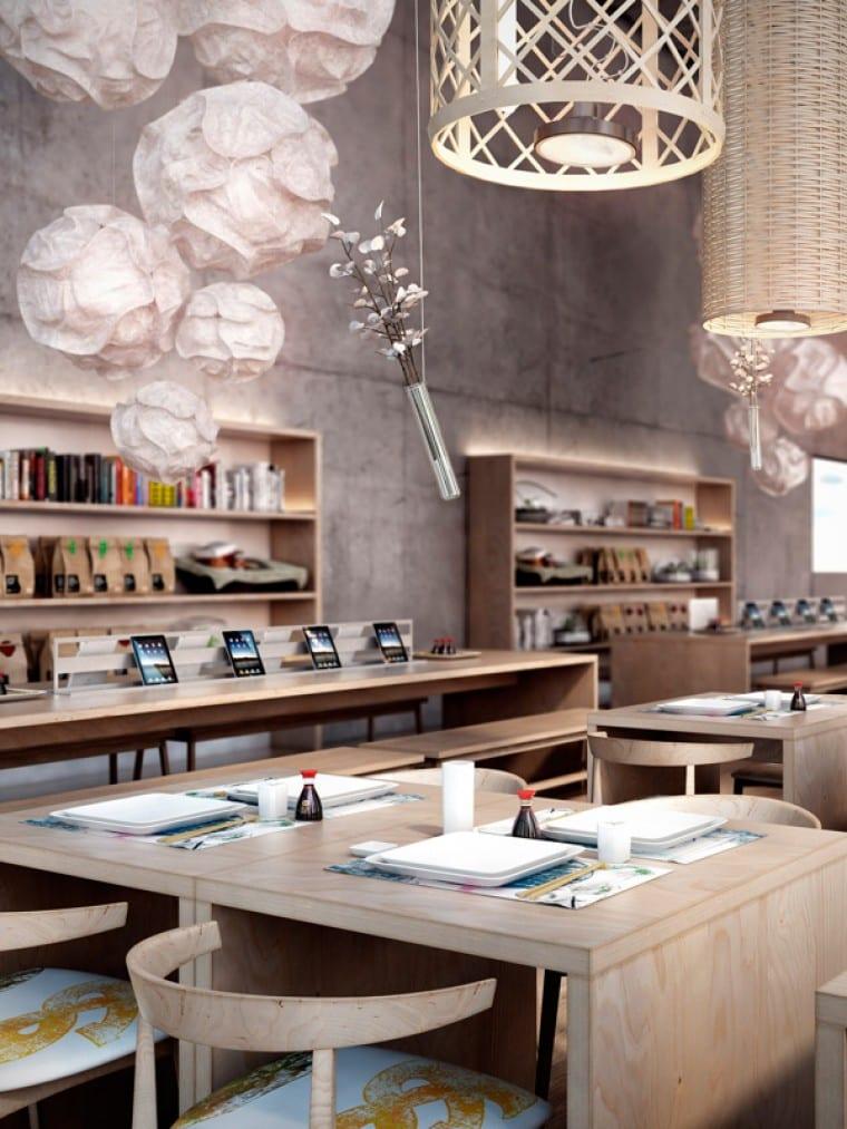 moderne Deckenleuchten mit Holzlampenschirmen- Wandgestaltung mit Holzwandregalen