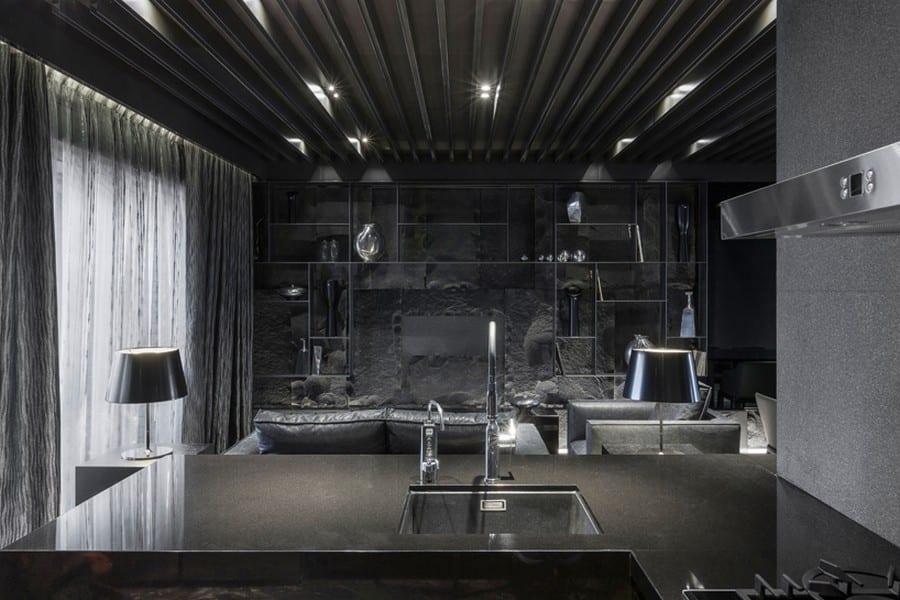 schwarze küche im wohnraum- wohnzimmer wandgestaltung- wohnzimmer decke schwarz