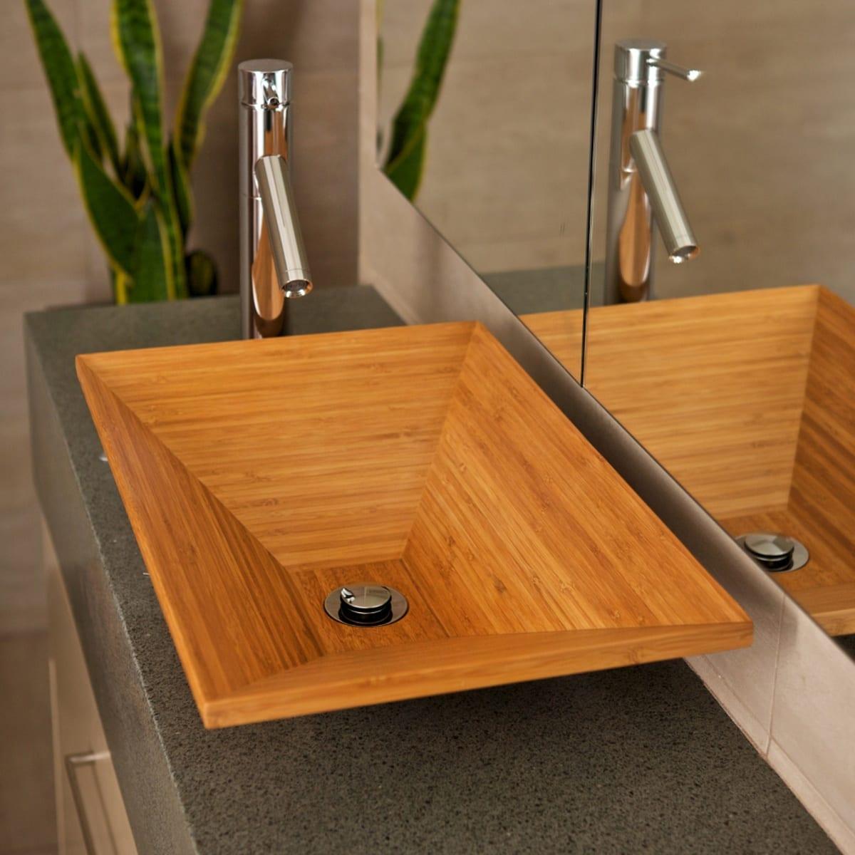 Bambus möbeln fürs Badezimmer- Naturstein Wassertisch mit Bambuswaschbecken