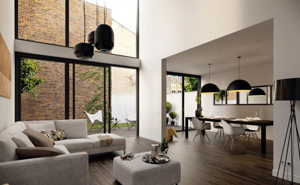 moderne Wohnraumgestaltung-schwarze pendelleuchten-holz bodenbelag-großformatige fenster mit schwarzen Fensterrahmen