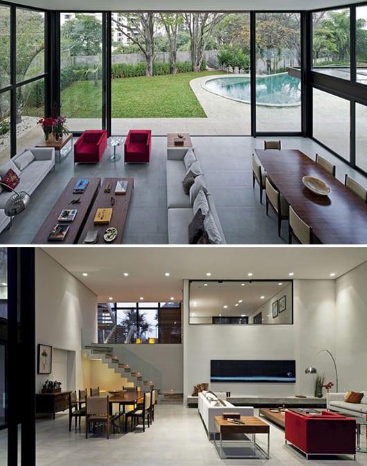 großformatige schiebetüren-moderne wohnraumgestaltung